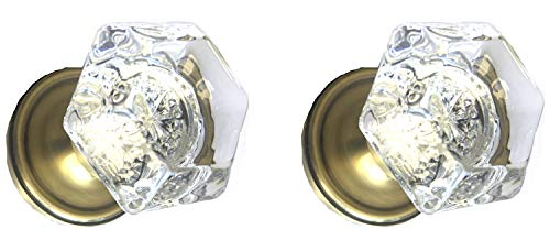 Perfect Reproduction Six Point Princess Old Town 24% Lead Crystal Interior Passage Knob Sets with Antique Brass Over Solid Brass Retrofit Rosettes. ()