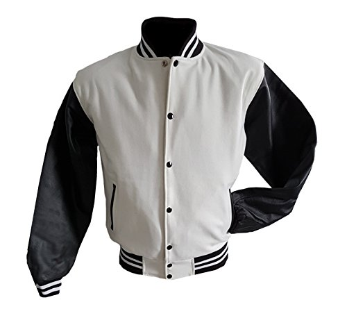 Original Windhound College Jacke weiß mit schwarzen Echtleder Ärmel XL