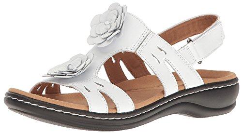 (CLARKS Women's Leisa Claytin Flat Sandal, White Leather, Size 9.0)