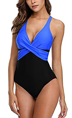 ALove Womens Tummy Control One Piece Swimsuit Front Cross Colorblock Bathing Suit