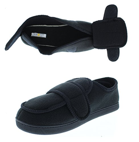 Gold Toe Men's Wide Adjustable Strap Orthopedic Wrap Slipper Bootie Memory Foam House Shoes Black (Extra Wide Fleece Binding)