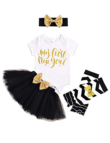 xinlykid Baby Girl Clothes My First New Year Costumes Romper Tutu Skirt Leg Warmth 4pc Party Clothes Outfit(3-6 Months)