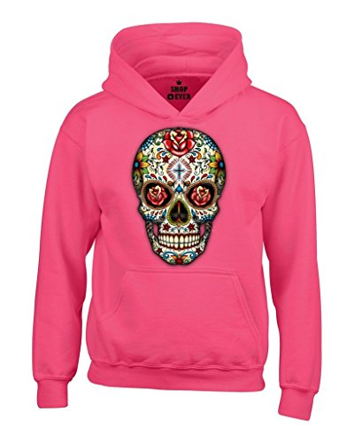 Sugar Skull Roses Hoodies Day of Dead Sweatshirts Medium Heliconia Pink WS 16553