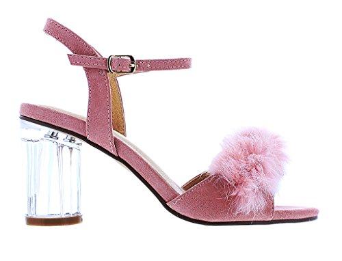 Liliana Azzy-1 Transparante Sandalen Met Hak En Bont, Zachte Nepbont Bekleding Over Vamp Dusty Pink