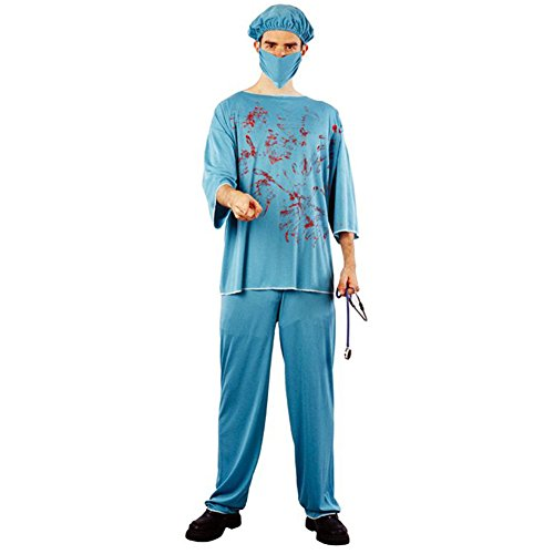 SpringPear Costume Doctor Uniform for Halloween Carnival Theme Horror Party Surgeon Surgical Gown Cosplay for 165-185 cm -