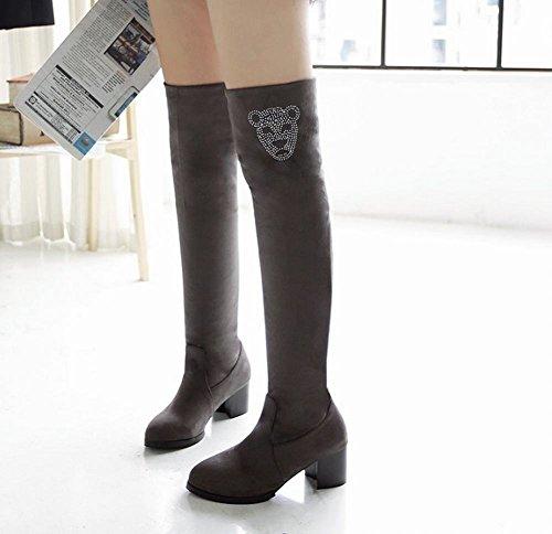Mee Shoes Damen chunky heels langschaft runde Stiefel Grau