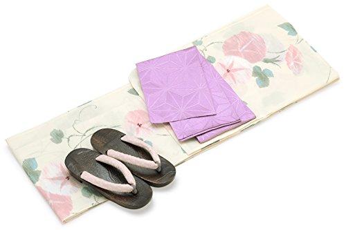 鮮やかな女将黄ばむレディース浴衣セット[浴衣/半幅帯] bonheur saisons 白系 アイボリー ペールピンク 緑色 薄紫色 朝顔 花柄 綿麻 浴衣セット 女性 フリーサイズ