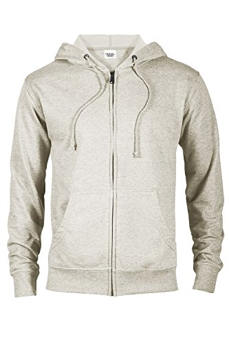 Casual Garb Hoodies for Men Heather French Terry Full Zip Hoodie Hooded Sweatshirt Oatmeal Heather ()