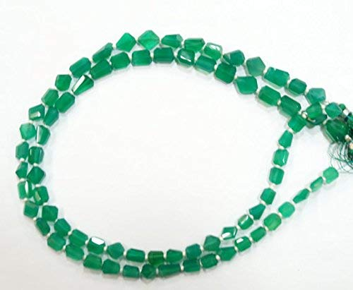Natural gem Stone top Quality Green Onyx Step Cut Cutting Faceted Nuggets Beads Complete Strand 14 inches Mix Size by India WINSTONE by ()