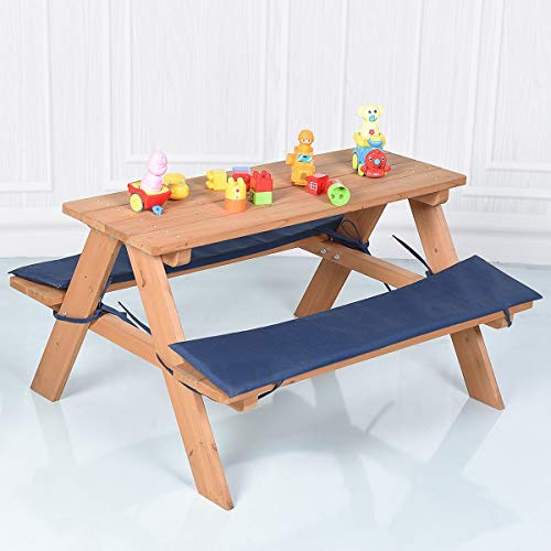 Custpromo Kids Wooden Table Bench Set with Cushion, Outdoor Table and Bench Set by Custpromo