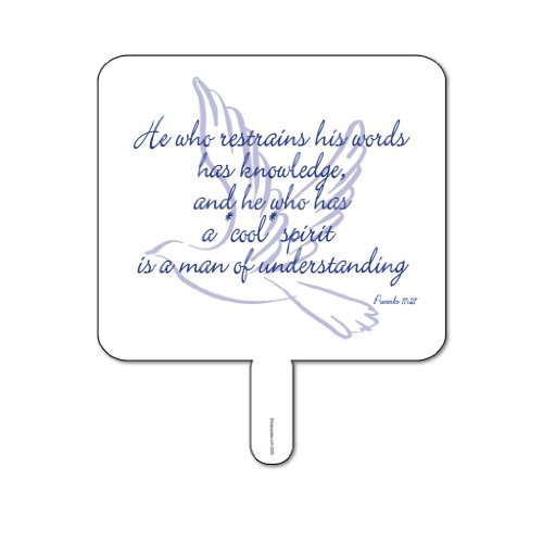 Church Fans - Set/12 Hand Held Fans w/Proverbs 17:27 Quote