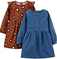 Simple Joys by Carter's Girls 2-Pack Long-Sleeve Dress Set Casual D