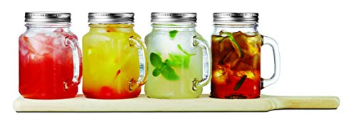 Brilliant - Set of Four Mini Square Mason Jar Mugs with Handles and Tin Lids on a Serving Wood Paddle