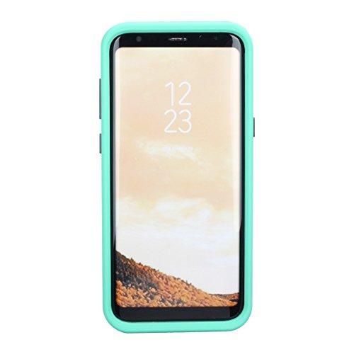Samsung Galaxy S8 Funda, FindaGift Soft TPU + PC híbrido A prueba de choques Estuche de teléfono con espejo y ranuras para tarjetas Caja del teléfono de las muchachas para Samsung Galaxy S8 Negro Verde claro + gris