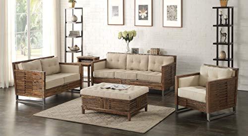 Loveseat Oak Set - Esofastore Contemporary Style Beige & Oak Wood Finish 3Piece Sofa Set Living Room Furniture
