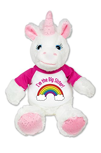I'm the Big Sister Unicorn Plush Pink Sparkles Message T-Shirt 8 - Big Facial