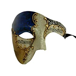 Gold Lining Musical Blue Venetian Half Masquerade Mask Phantom Design by Chom