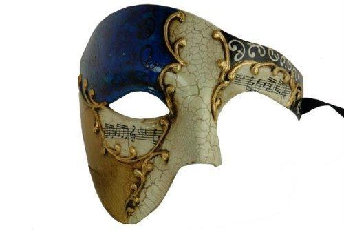 Gold Lining Musical Blue Venetian Half Masquerade Mask Phantom Design by Chom]()