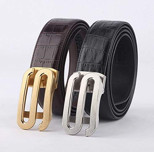 Xiuzhifuxie Leather Belts for Men Dragon Buckle Alligator Pattern Leather Mens Belt Mens Leather Belt (Color : Coffee)
