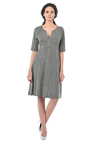 Knit Retro Print Empire Dress - 5
