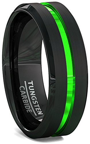 Duke Collections Black 8mm Metal Green Tungsten Ring Groove Beveled Edge with Black Comfort Fit (9) by Duke Collections