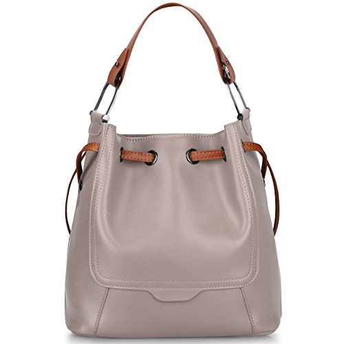 Purse Bucket Style (S-ZONE Women's Genuine Leather Shoulder Bucket Bag Crossbody Top-handle Purse (Light Grey))