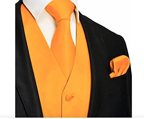 Brand Q 3pc Men's Dress Vest NeckTie Pocket Square Set for Suit or Tuxedo (XL (Chest 46), -