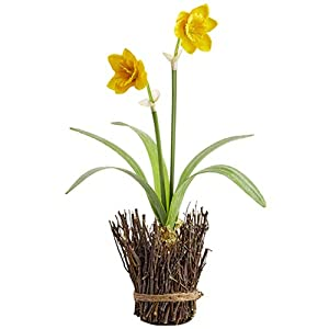 "18"" Silk Daffodil Flower Arrangement w/Twig Container -Yellow (Pack of 6) 7"