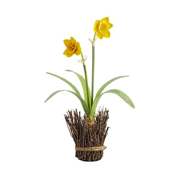 18″ Silk Daffodil Flower Arrangement w/Twig Container -Yellow (Pack of 6)