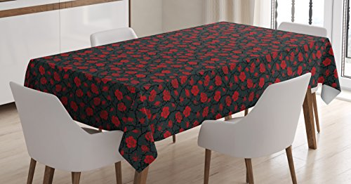 Ambesonne Red and Black Tablecloth, Romantic Vintage Roses Illustration Old Fashioned Victorian Art, Dining Room Kitchen Rectangular Table Cover, 60