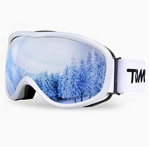 TOMSHOO OTG Lunettes de Ski, Anti-buée et Protection UV 400 pour Homme et Femme, Masque de Snowboard Coupe-Vent lentille d'anti-éblouissement