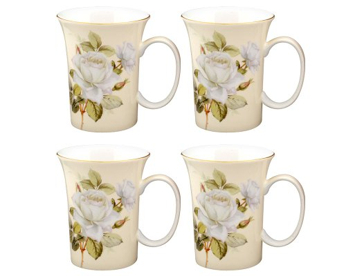 Gracie Bone China 10-Ounce Trumpet Mug, White Green Iceberg, Set of 4