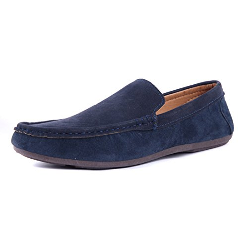 Gaorui Mens Faux Suede Casual Loafers Moccasins Slip On Driving Shoes Comfortable Shoes Blue