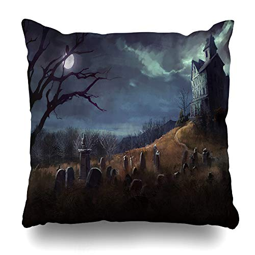 DIYCow Throw Pillows Covers Spooky Halloween Grave Yard House Night Cemetery Home Decor Pillowcase Square Size 20 x 20 Inches Cushion Case]()