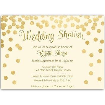 amazon com wedding shower invitations ivory gold confetti