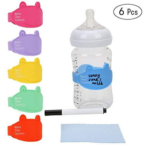 Baby Bottle Labels for Daycare, Durable Writable Reusable Food -Grade Silicone 6 Pack Baby Bottle Labels with Dry Erase Marker Foretoo -