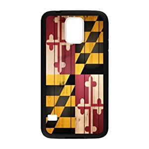 Samsung Galaxy S5 SV Case Cover - Maryland States Flag Wood Pattern Samsung Galaxy S5 SV TPU (Laser Technology) Case Rubber Sides Shell