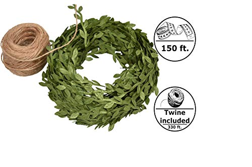 Green Leaf Trim Ribbon Vine, 150 ft Green Artificial Vine Ribbon with Leaves + 330 ft of Natural Jute Twine Packing String Ribbon - for Wedding Greek Garden Party Home ()