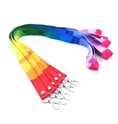 (yueton 5pcs Colorful Rainbow Neck Lanyards Straps Strings Cords with Lobster Clasp for ID Tags, Name Card, Business ID Card Holder, Badge Reel)