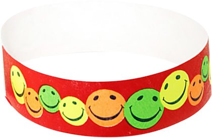 Wristband Giant 3/4 Tyvek Full Color Happyface Pattern box 500 For Events