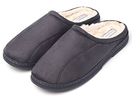 KushyShoo Mens Slippers, Indoor Outdoor Slipper for Men, Cozy Clog House Slippers Grey