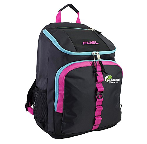 Pickleball Marketplace TopLoader Backpack - New - Black w/Blue & Pink Accents - w/