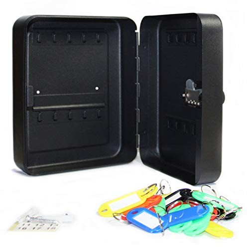 SEPOX Steel Key Cabinet Security Cabinet Box with Combination Lock - Holds 20 Keys (20 Keys, Matte Black)