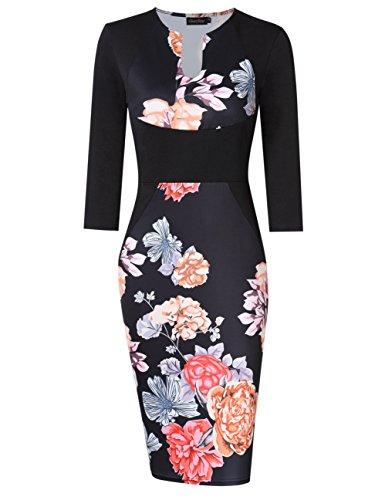 3/4 sleeve black dress v neck - 3