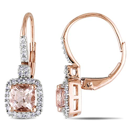 1.50ct Cushion Cut Morganite CZ Rounds Halo Leverback Earrings