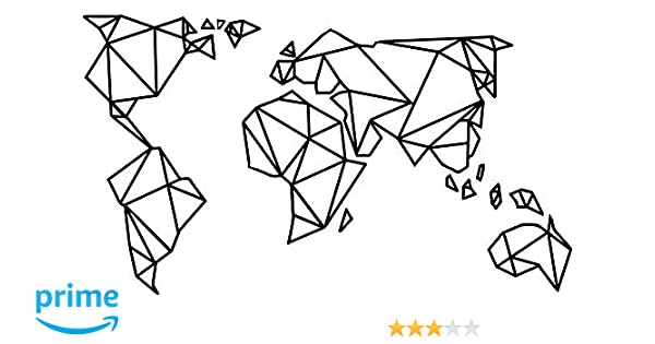 Amazon Com Homefind Black 29w X 16h Geometric Designs World Map