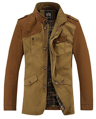 BSLG Men's Fashion Collar Hands Pockets Outdoors Casual Jackets L Khaki