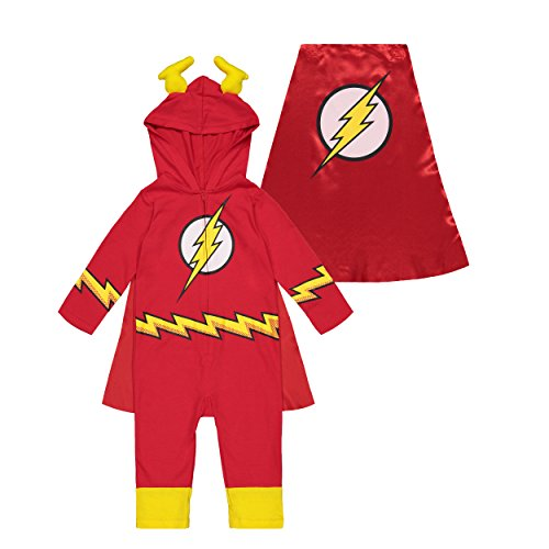 Warner Bros. Justice League Flash Baby Boys' Hooded Costume Coverall & Cape (12 Months) -