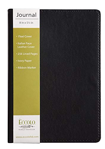 (Eccolo World Traveler Simple Journal Collection, Medium, Black)
