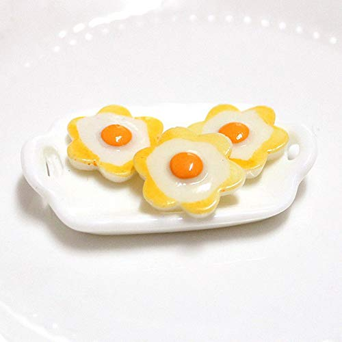 4X Cute Dollhouse Miniature Fried Eggs Doll Food Breakfast Poached Egg Model New -